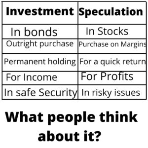 Difference Investment and speculation